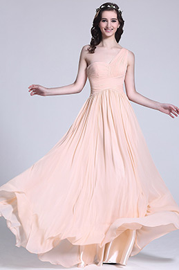 Elegant One Shoulder Soft Pink Bridesmaid Dress (07151310)