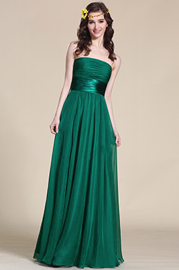 Strapless Dark Green Bridesmaid Dress Evening Gown (07151404)