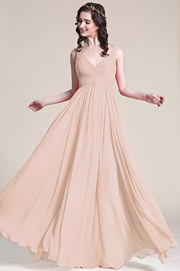 Sleeveless V Neck Rosy Brown Bridesmaid Dress Evening Dress (07151646)