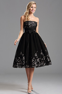 Robe de cocktail sans bretelle satin noeuds papillon noir (X04135100)