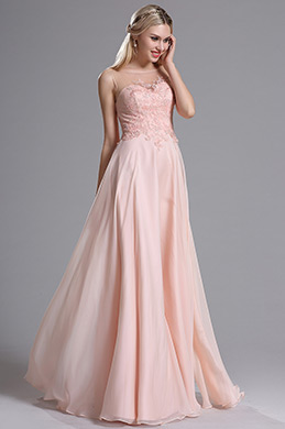eDressit Sheer Neck Pink Floral Appplique Evening Dress Prom Dress (00164401)