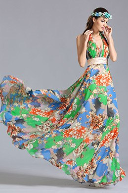 Halter Neck Floral Dress Summer Printed Dress (00155304)