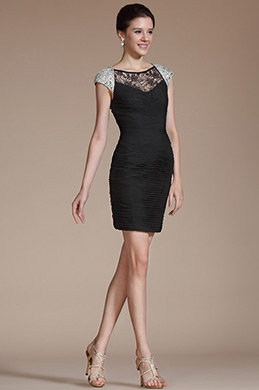 Beaded Cap Sleeves Cocktail Dress(C35141300)