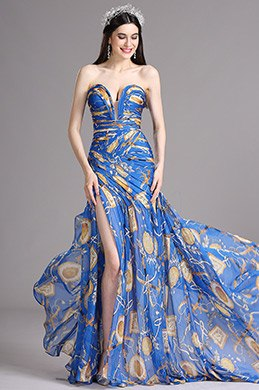 eDressit Blue Strapless Sweetheart Printed Prom Summer Dress (X00120505)