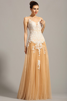Ärmellos Beige Spitze Applikation Formal Kleid Ballkleid (02154814)