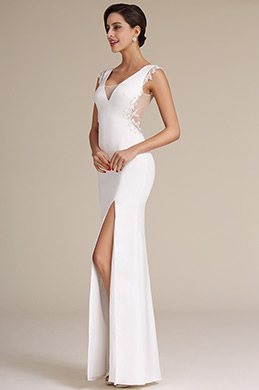 Sexy High Slit Plunging Neck Wedding Reception Dress (01160907)