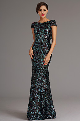 Pailletten Blau Cowl Rücken Formal Kleid Ballkleid (X07160305)