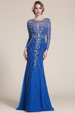 eDressit robe de soirée longue bleu en dentelle et bijoux (C36152705)