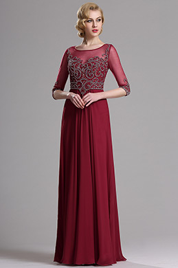 eDressit Burgundy Half Sleeves Beaded Evening Prom Dress(36163817)