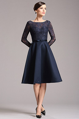 Gorgeous Navy Blue Long Sleeves Party Dress Cocktail Dress (X04151805)