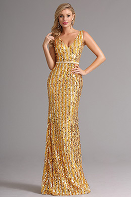 Sleeveless Golden Sequin V Neck Formal Dress Evening Dress (X00161724)