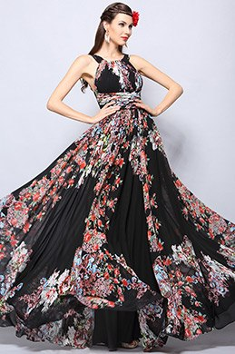 Halter Neck Printed Summer Evening Dress Formal Dress (07153900)