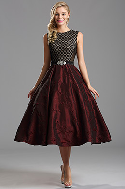 Vintage Burgundy Tea Length Dress Cocktail Dress (X04151317)