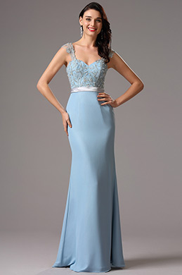 Beaded Lace Shoulders Sweetheart Light Blue Evening Dress (00162632)