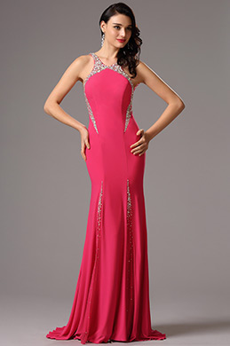 Beaded Halter Neck Hot Pink Formal Evening Gown (36162312)