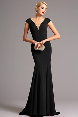 eDressit Black Cap Sleeves Plunging Neckline Formal Dress (00161200)