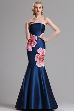 eDressit Embroidery Strapless Blue Prom Dress Evening Gown (00163105)