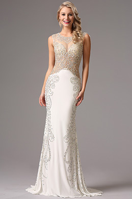 Sleeveless Beaded Illusion Bodice White Formal Gown (36160807)