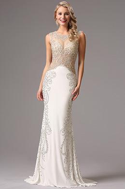 Белое Бальное Платье с Празрачным Лифом с Бисерами (36160807)