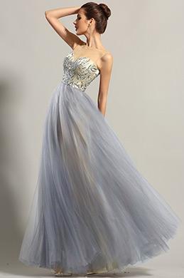 Robe de soirée princesse sans manche bleu avec bijoux (00153405)