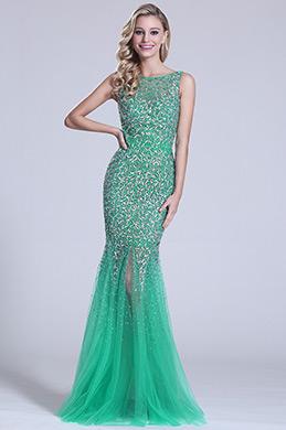 eDressit  Ärmellos Perlen Grün Abschluss Kleid (C36150804)