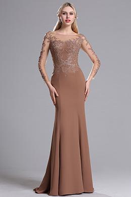 eDressit Illusion Kragen Lange Ärmel Floral Mermaid Kleid (26162720)