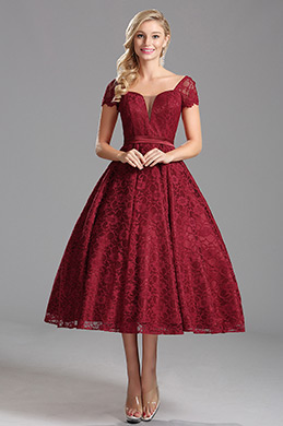 Capped Sleeves Overlace Burgundy Tea Length Party Dress (X04145217-1)