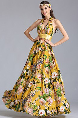 Halter Neck Plunging Printed Summer Dress Evening Dress (00155303)