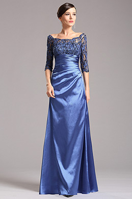 Blue Mother of the Bride Dress with  Long Lace Sleeves (X26121805)