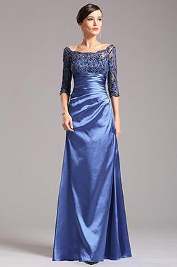 Vestido de Ceremonia para Madre Mangas de Encaje Azul (X26121805)