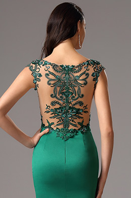 Illusion V Neck High Slit Gown with Detailed Back (00160104)