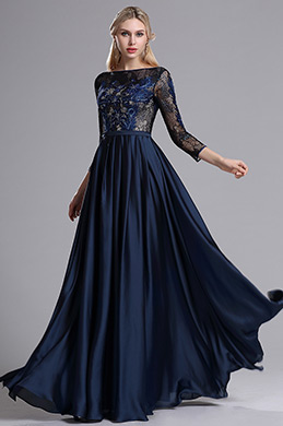 eDressit Blau Kariert 3/4 Ärmel Kleid der Brautmutter  (26162805)