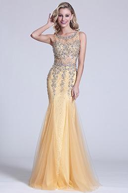 eDressit Robe de soirée longue sirène sans manche jaune (C36150714)