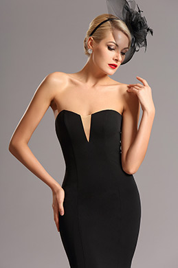 Strapless Sweetheart Fitted Black Formal Dress (00161100)