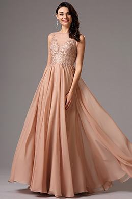Sleeveless Plunging Neckline Rosy Brown Evening Dress (02161446)