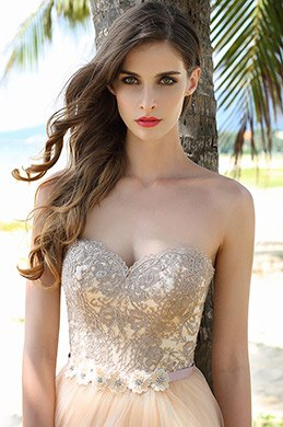 Elegant Strapless Sweetheart Beige Ball Gown Formal Dress (02160814)