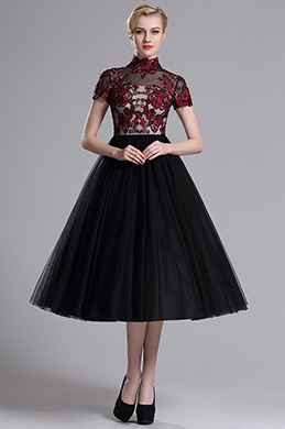 eDressit Embroidered Short Sleeves Layered Cocktail Dress (04161900)