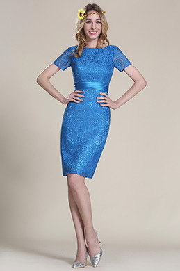 Short Sleeves Blue Lace Bridesmaid Dress (07152305)