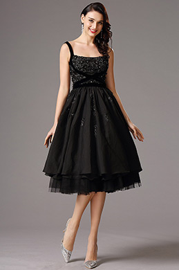 Flattering Black Vintage Layered Cocktail Dress Party Dress (04160200)