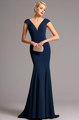 Flügelärmel tiefe Ausschnitt Blau Formel Abendkleid  (00161258)
