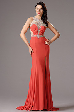 Sleeveless Beaded Neckline High Slit Orange Formal Gown (36160510)