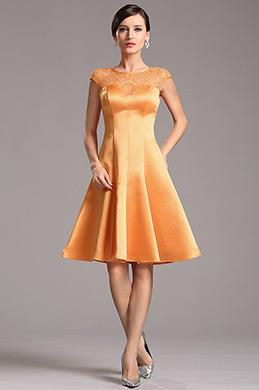 Оранжевое Коктейльное Платье с Кружевным Декольте (X04160310)
