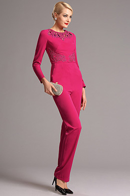 Hot Pink Hollowed Jewel Neck Long Sleeves Jumpsuit (03160712)