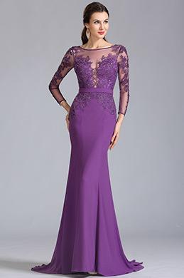 eDressit robe de soirée violette manches longues dentelle (02152906)