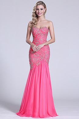 Robe de bal rose sirène sans bretelle avec bijoux (C36151412)