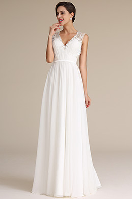 Plunging Neck Pleated Bodice Wedding Dress Bridal Gown (01160407)