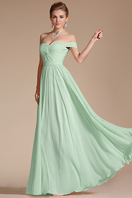 Off Shoulder Mint Bridesmaid Dress Evening Dress (07151704)