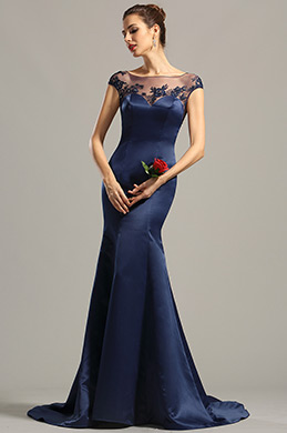Cap Sleeves Navy Blue Embroidered Evening Dress Formal Dress (02154705)