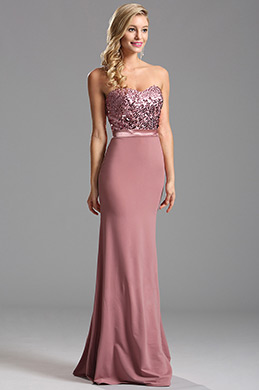 Strapless Sweetheart Rosy Brown Sequin Evening Dress (X07160246)