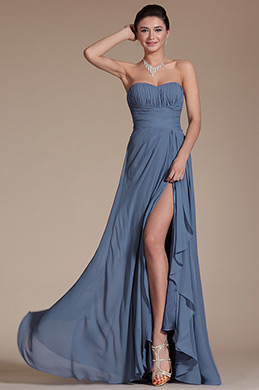 Simple Strapless Bridesmaid Dress Evening Dress (C00142605)